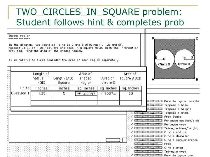 TWO_CIRCLES_IN_SQUARE problem: Student follows hint & completes prob