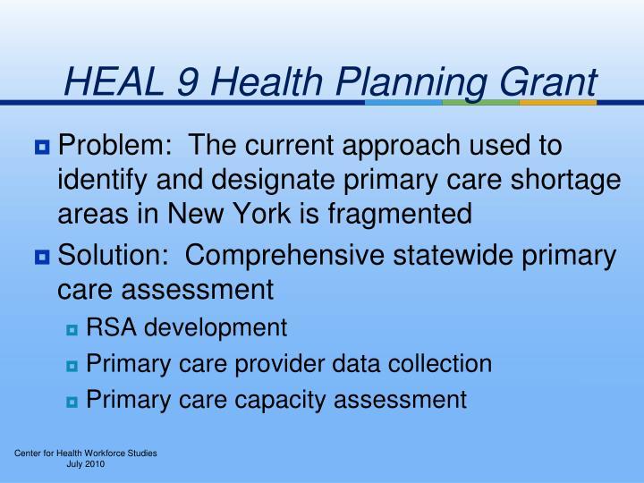 HEAL 9 Health Planning Grant
