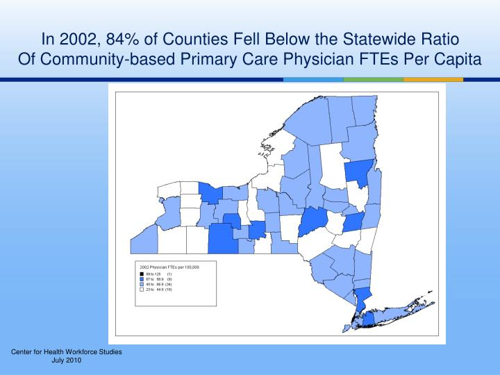 In 2002, 84% of Counties Fell Below the Statewide Ratio