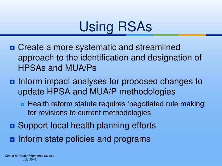 Using RSAs