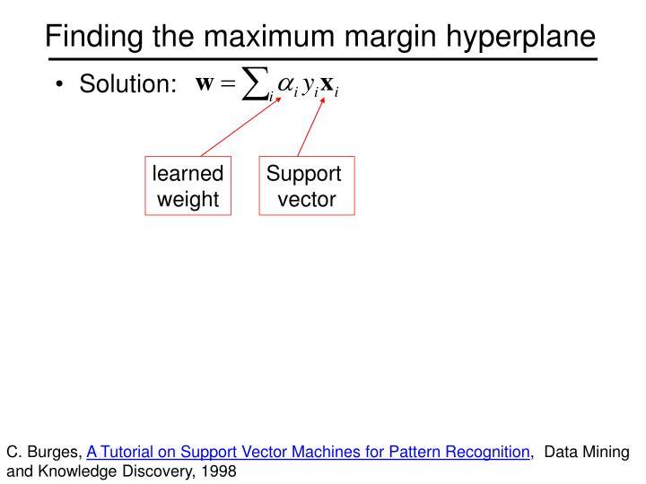 Finding the maximum margin hyperplane