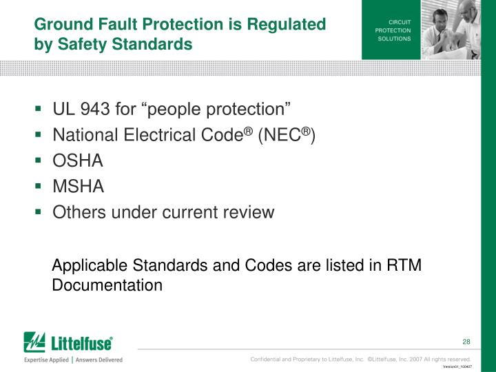 Ground Fault Protection is Regulated by Safety Standards