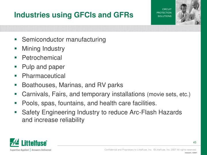 Industries using GFCIs and GFRs