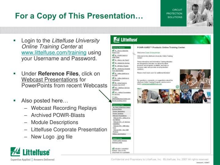 For a Copy of This Presentation…