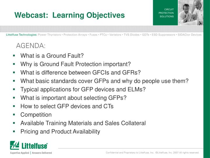 Webcast:  Learning Objectives