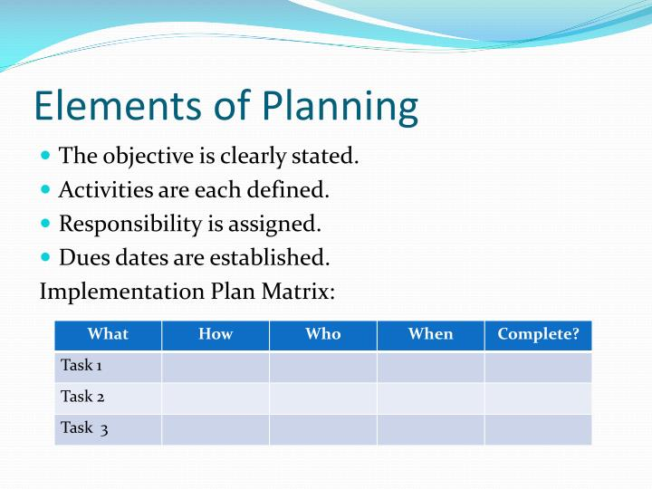 Elements of Planning