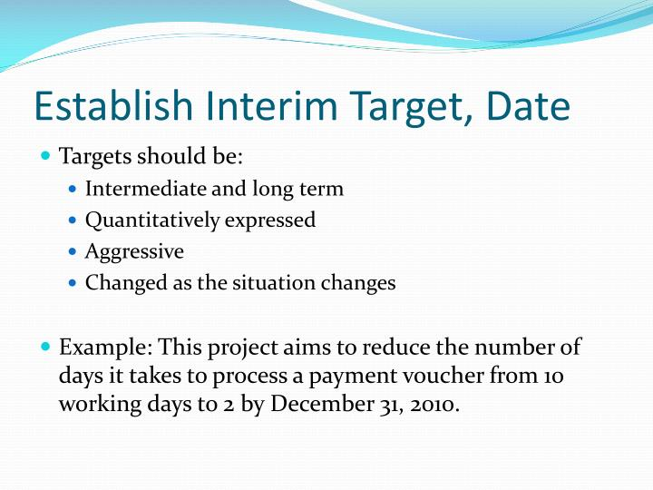Establish Interim Target, Date