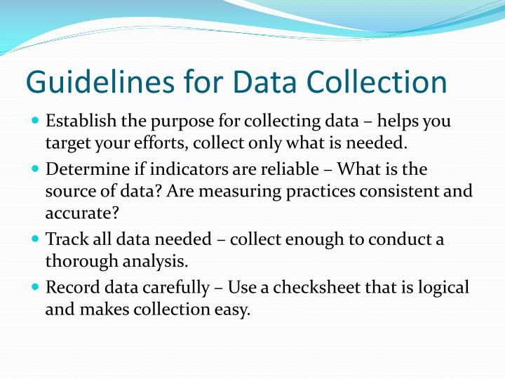 Guidelines for Data Collection