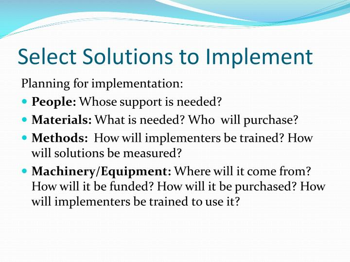 Select Solutions to Implement