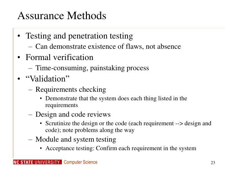 Assurance Methods