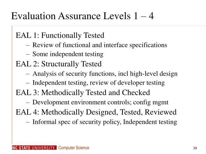 Evaluation Assurance Levels 1 – 4