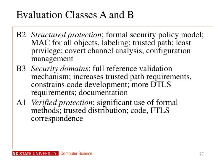 Evaluation Classes A and B