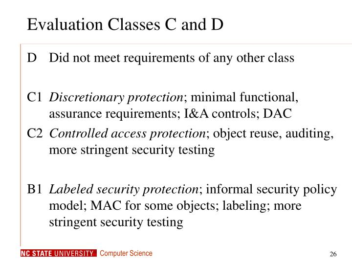 Evaluation Classes C and D