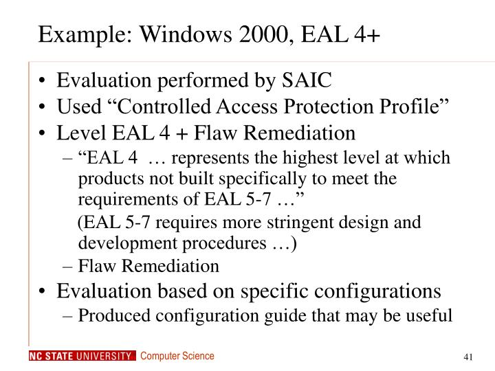 Example: Windows 2000, EAL 4+