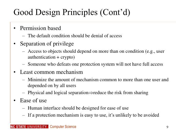 Good Design Principles (Cont'd)