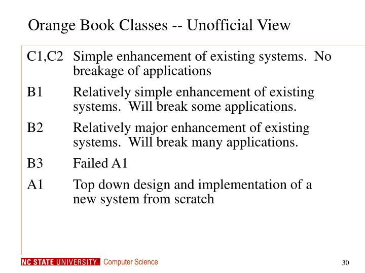 Orange Book Classes -- Unofficial View