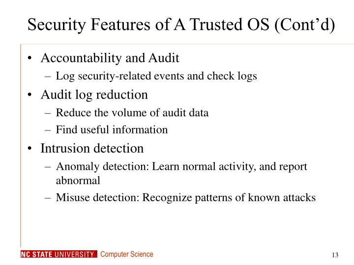 Security Features of A Trusted OS (Cont'd)