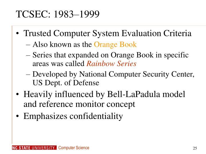 TCSEC: 1983–1999