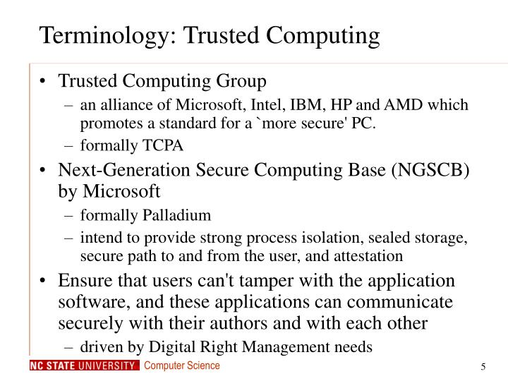 Terminology: Trusted Computing