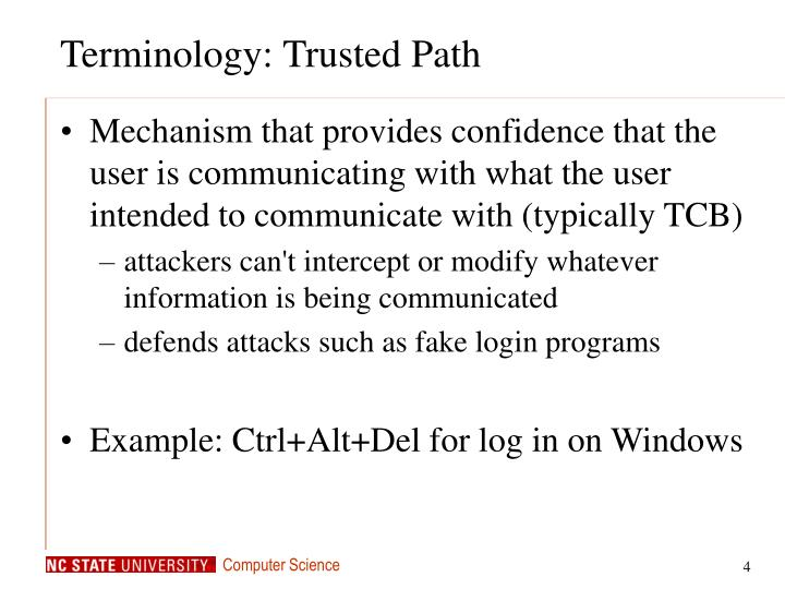 Terminology: Trusted Path
