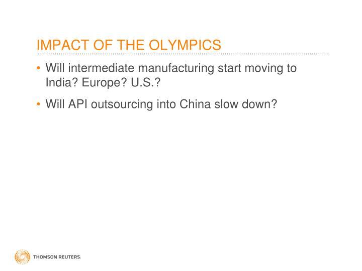 IMPACT OF THE OLYMPICS