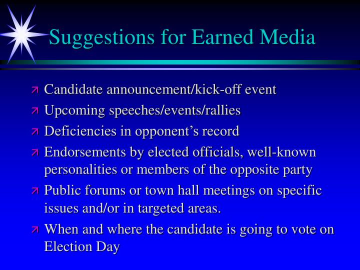 Suggestions for Earned Media