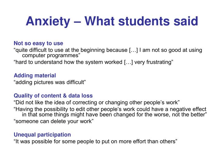 Anxiety – What students said