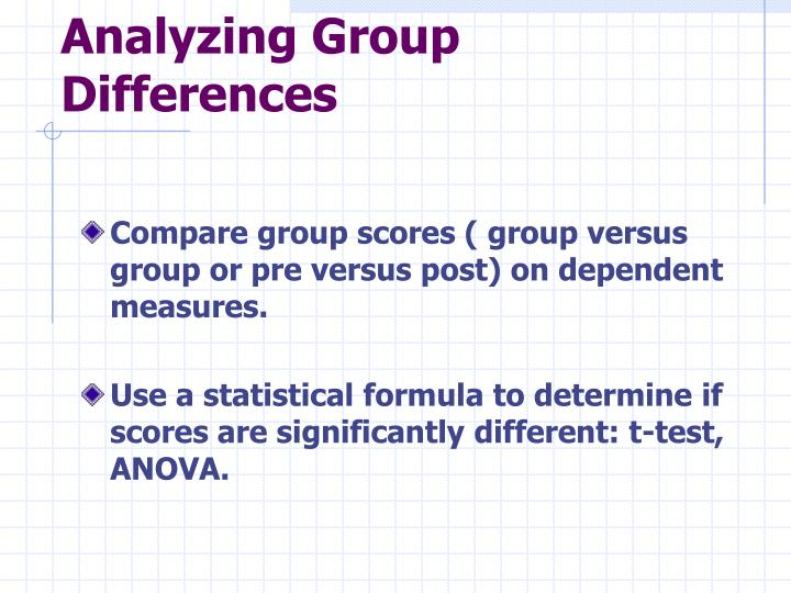 Analyzing Group Differences
