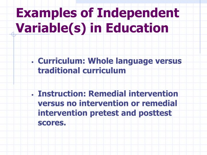 Examples of Independent Variable(s) in Education