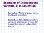 examples of independent variable s in education