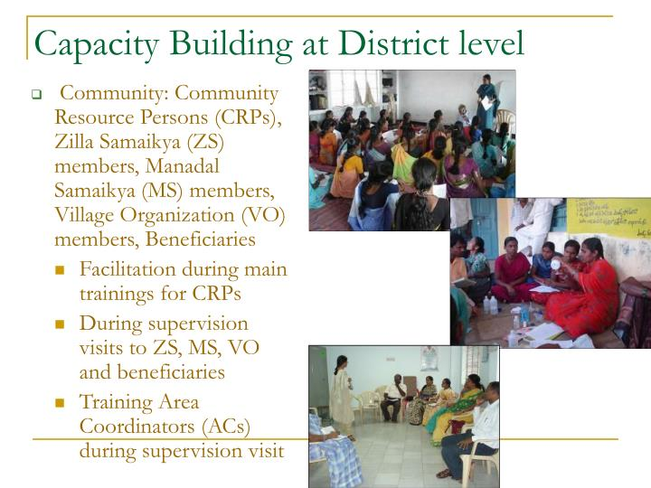 Capacity Building at District level