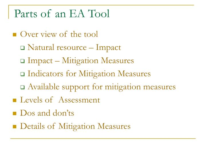 Parts of an EA Tool