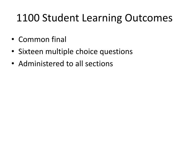 1100 Student Learning Outcomes