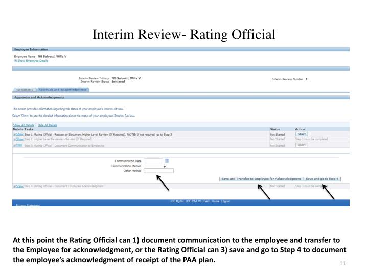 Interim Review- Rating Official