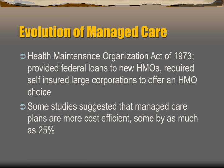 Evolution of Managed Care