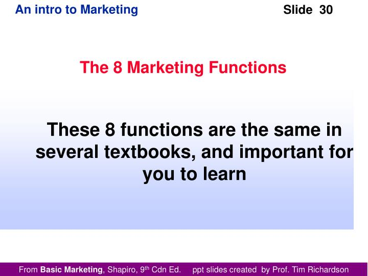 The 8 Marketing Functions