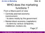 who does the marketing functions