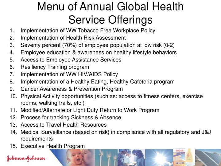 Menu of Annual Global Health