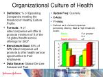organizational culture of health