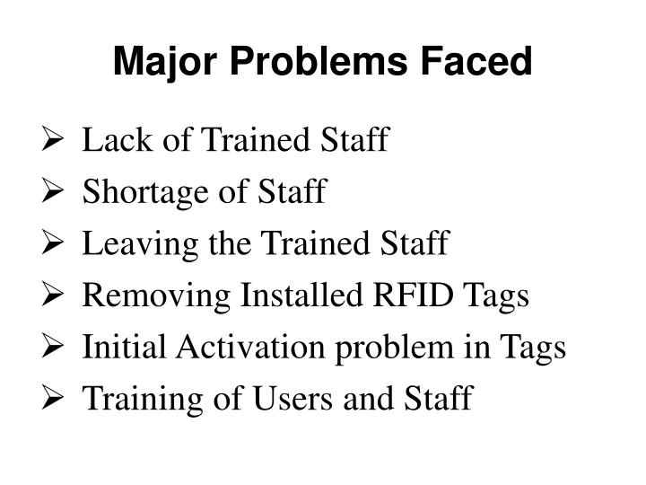 Major Problems Faced
