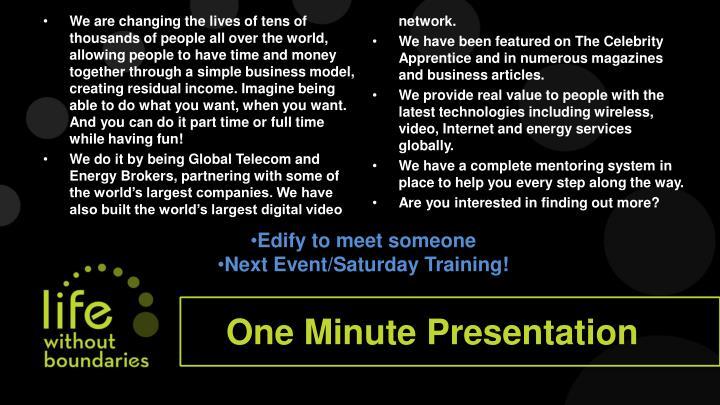 One Minute Presentation