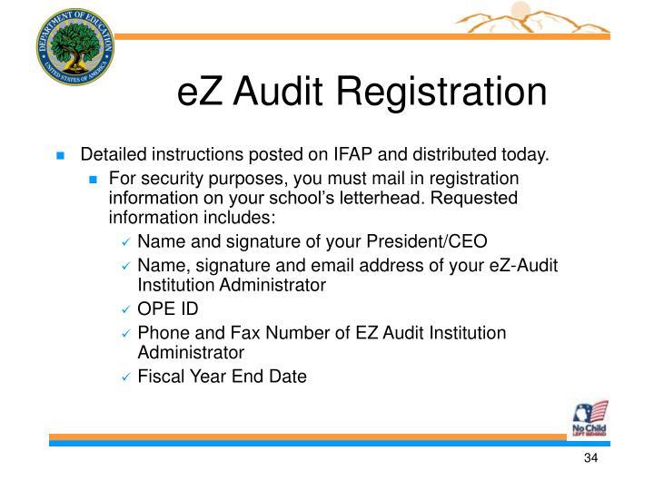 eZ Audit Registration