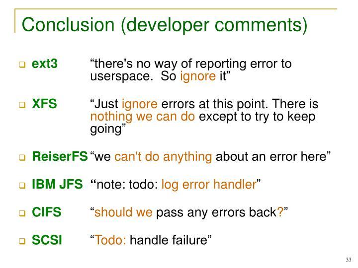 Conclusion (developer comments)