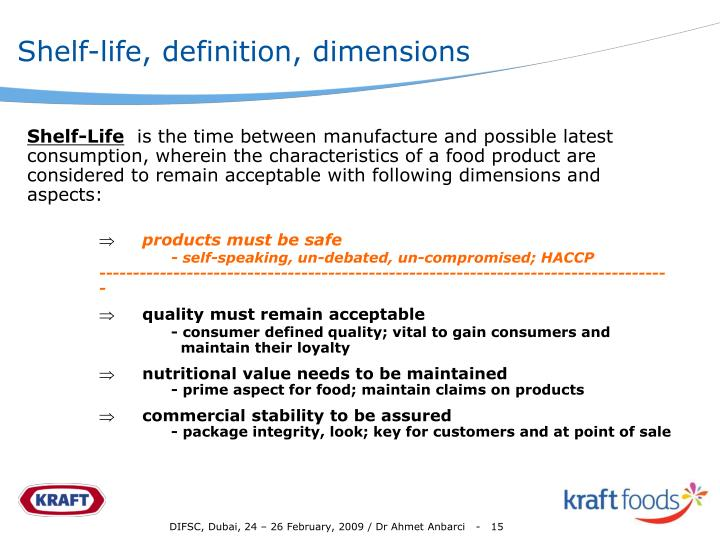 Shelf-life, definition, dimensions
