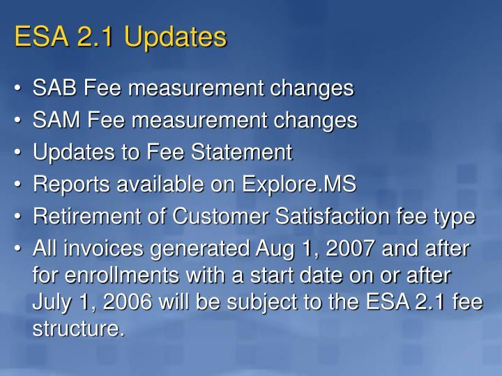 ESA 2.1 Updates
