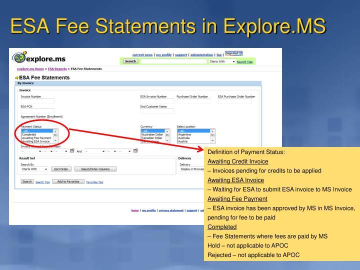 ESA Fee Statements in Explore.MS