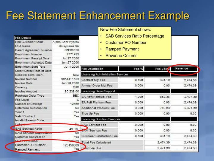 Fee Statement Enhancement Example