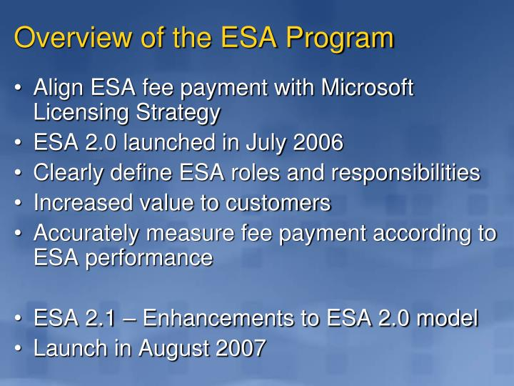 Overview of the ESA Program