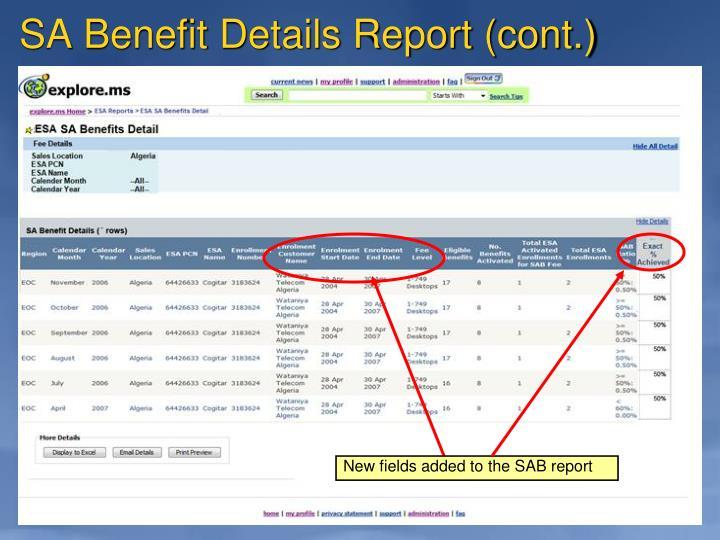 SA Benefit Details Report (cont.)