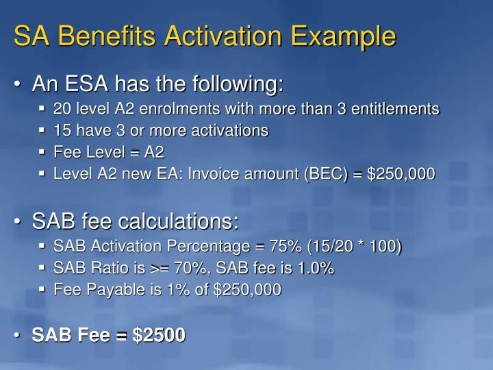 SA Benefits Activation Example